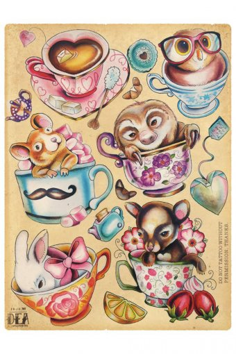 Poster Dea Vectorink Puppies in Cups