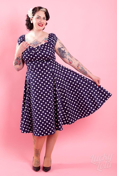 Delores Doll Dress Blau weisse Punkte XS