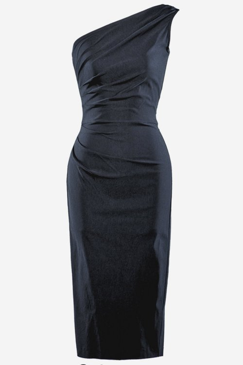 Stop Staring Ava One Shoulder Dress in Schwarz