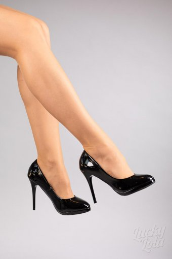 Banned Manhatten Lack Heels Black