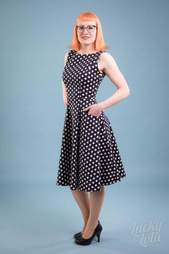 Collectif Hepburn Polka Dot Dress Black