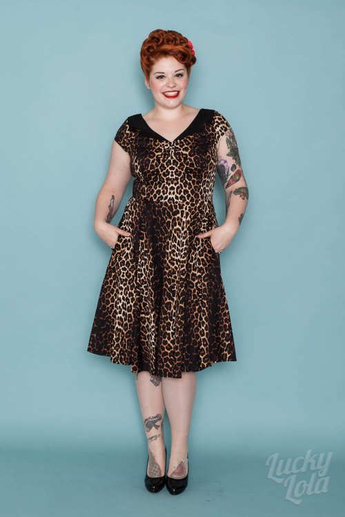 Hellbunny Panthera Swing 50s Leopard Button Kleid