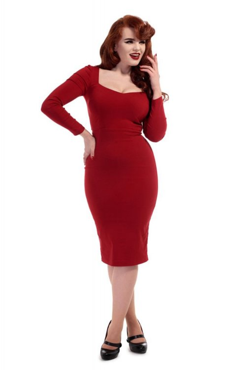 Collectif Helene Pencil Kleid Rot L