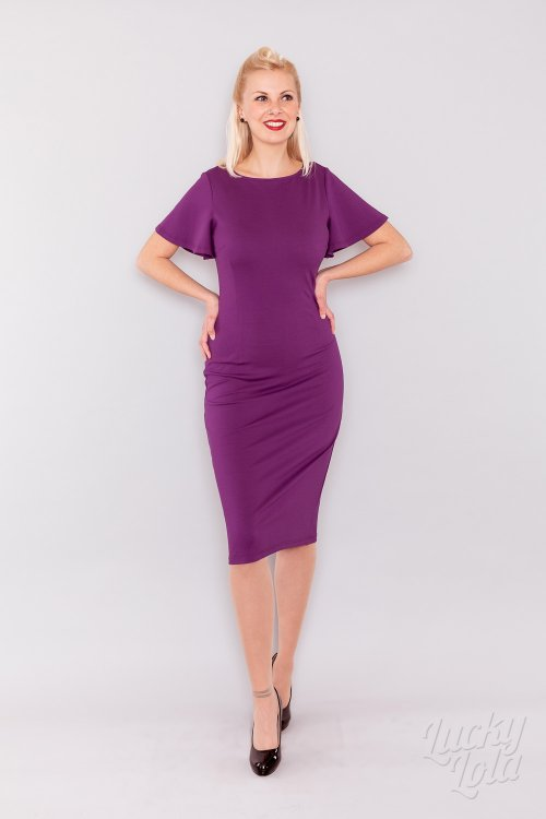Lucky Lola Celeste Lila Pencil Fitted Kleid