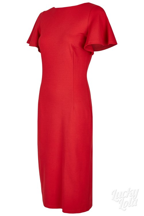 Lucky Lola Amoroso Rot Pencil Fitted Kleid