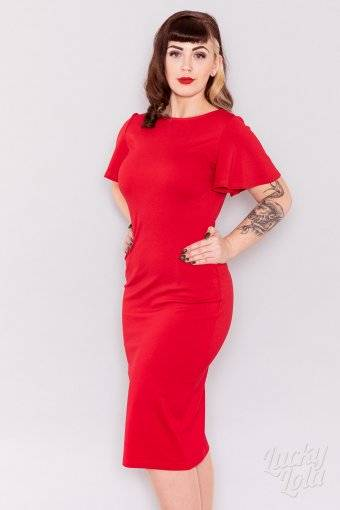 affbf859558613 Lucky Lola Amoroso Rot Pencil Fitted Kleid ...