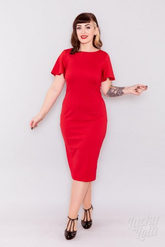 Lucky Lola Amoroso Rot Pencil Fitted Kleid XXL