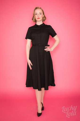 Collectif Keira Plain Black Swing Kleid