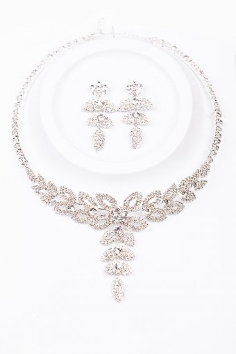 Collier Set Chrystal Flowers