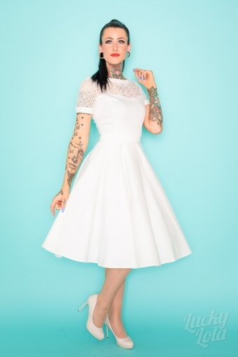 Dolly & Dotty Tess Vintage Kleid in Braut Weiss