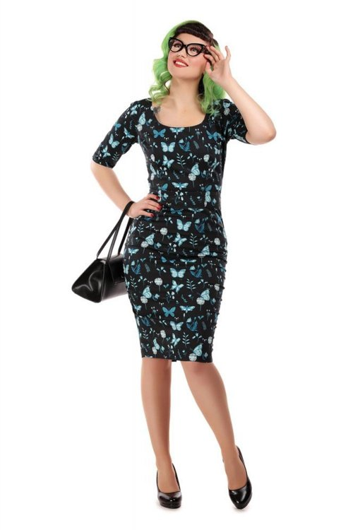 Collectif Amber Midnight Butterfly Pencil Kleid