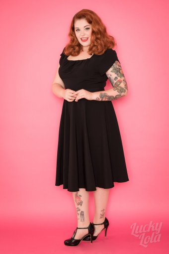 Pretty Retro 50s Swing Dress Schwarz